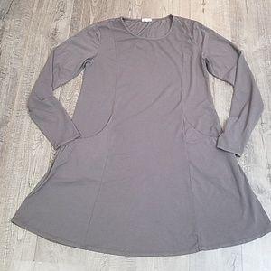 Mod-o-doc Cotton Blend Longsleeve Baggy Dress L
